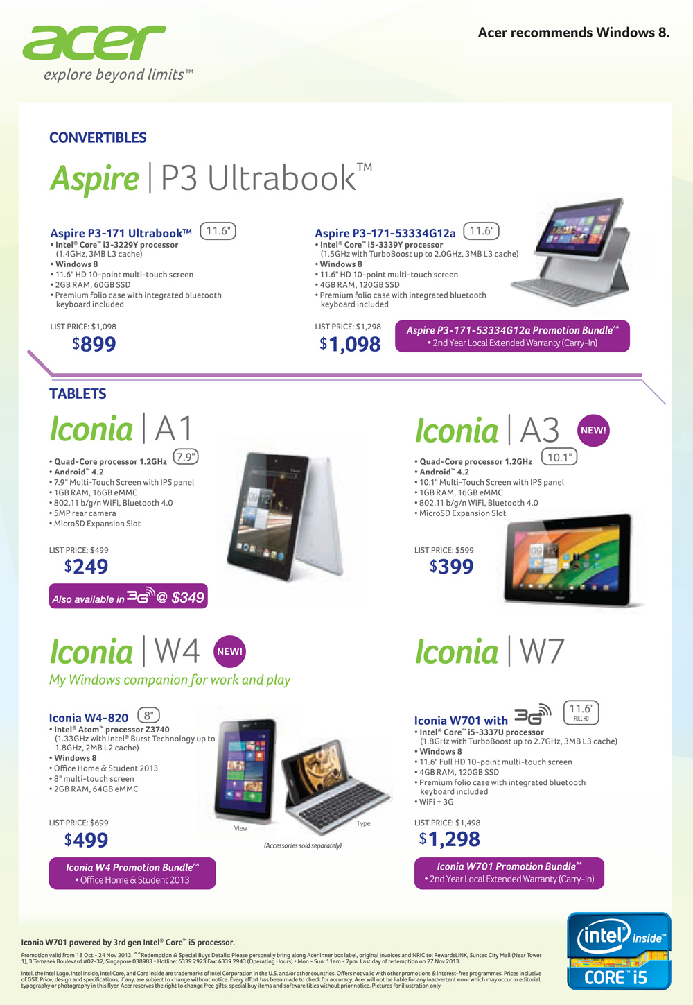 Acer notebooks + tablets