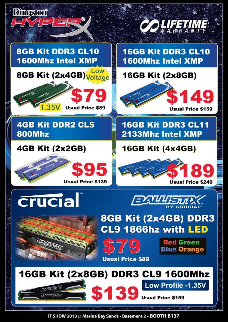 Kingston & Crucial gaming memory
