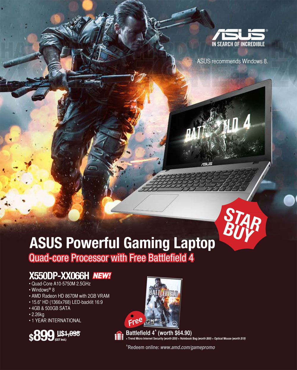 Asus gaming notebook X550