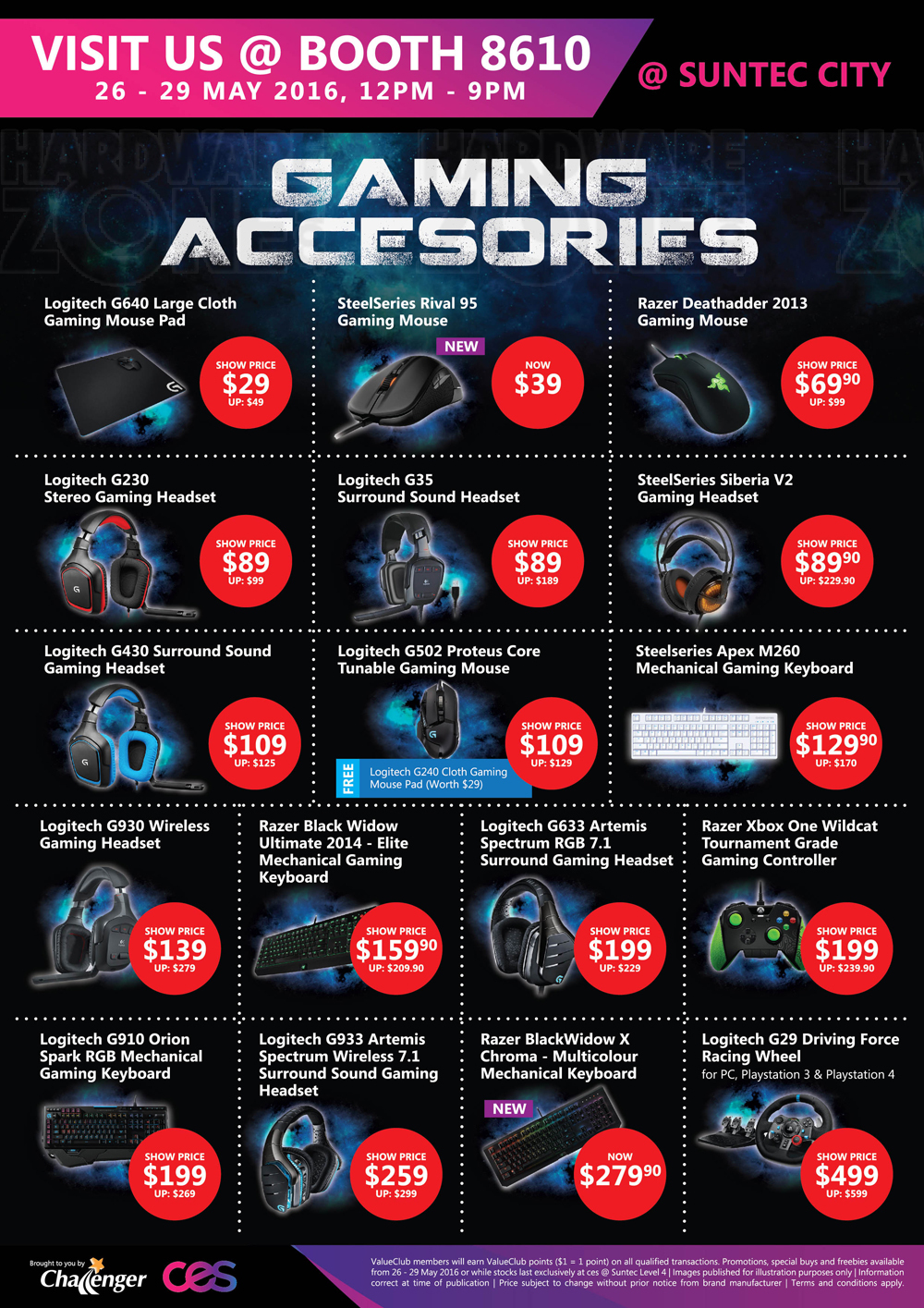 Asus gaming desktops amp monitors brochures from cee show 2016 singapore - Logitech And Razer Gaming Accessories