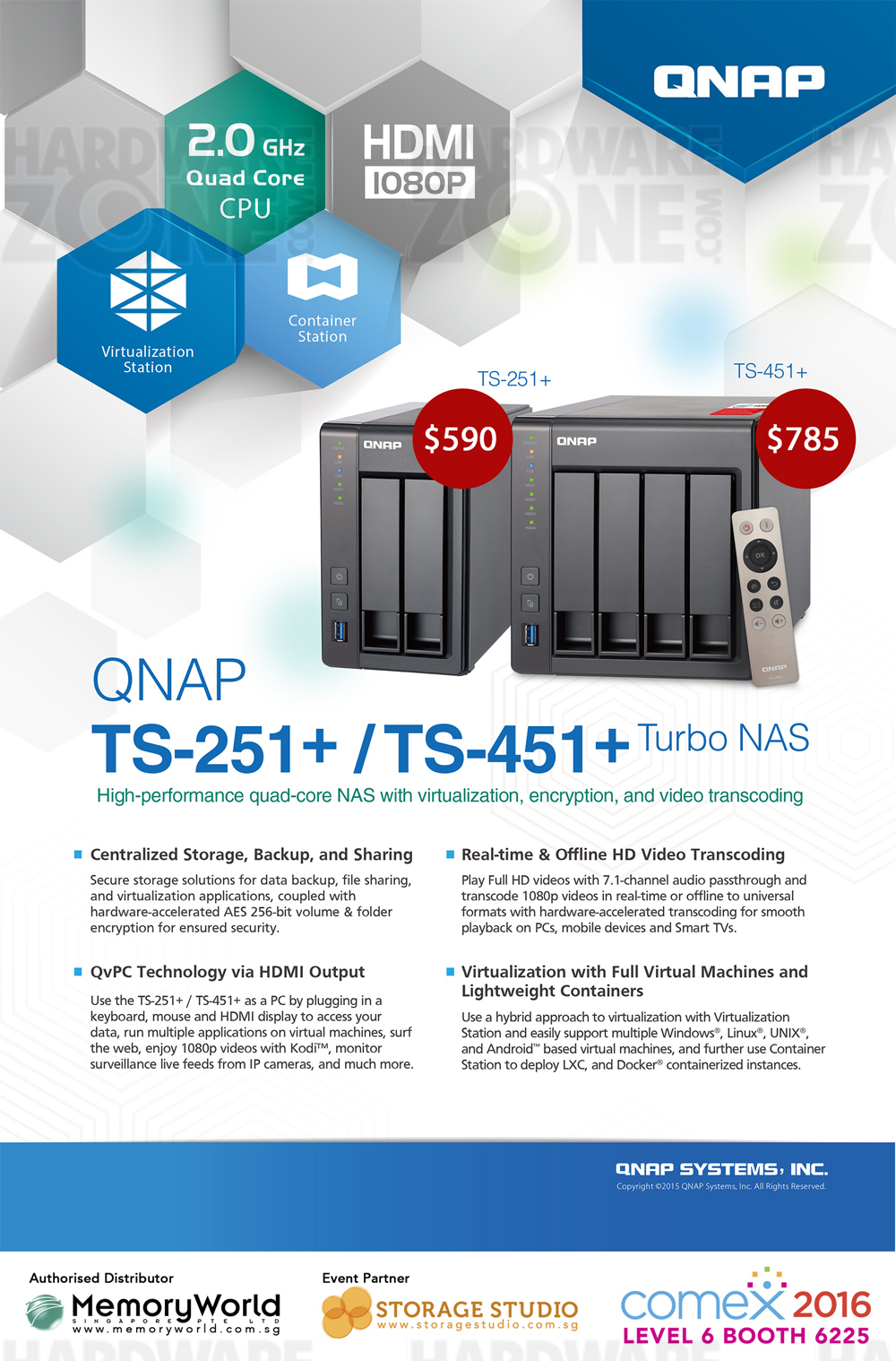 QNAP TS-251+ / 451+ Brochures from COMEX 2016 Singapore on