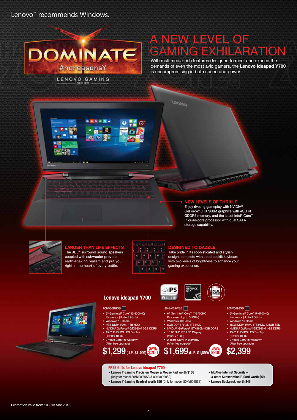 Lenovo Ideapad Y700 Brochures from IT Show 2016 Singapore on