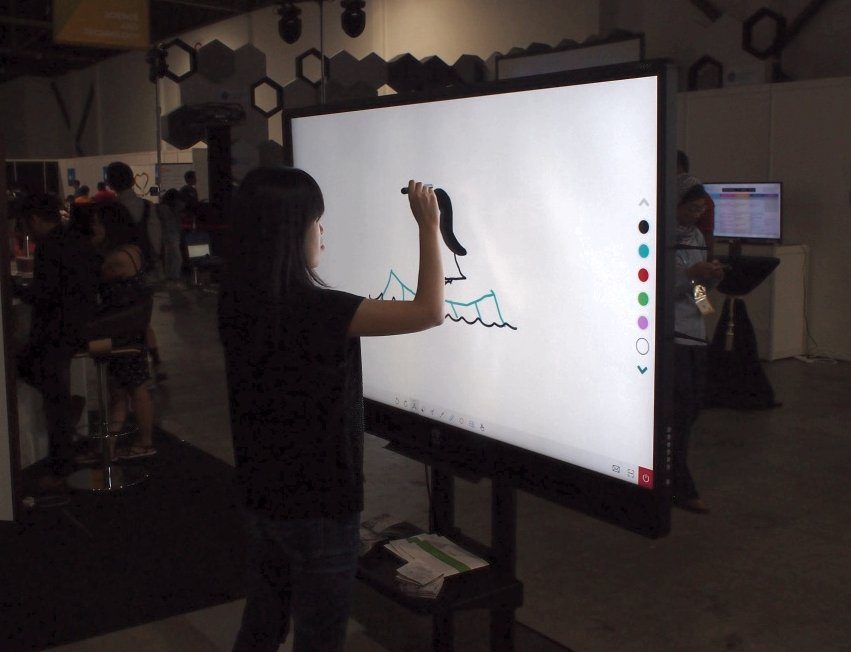 Interactive drawing boards.