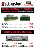 Kingston DDR3 and DDR4 memory