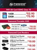 Transcend WiFi SD card, portable HDD, card readers