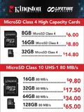 Kingston Micro SD Class 4 & 10 Cards
