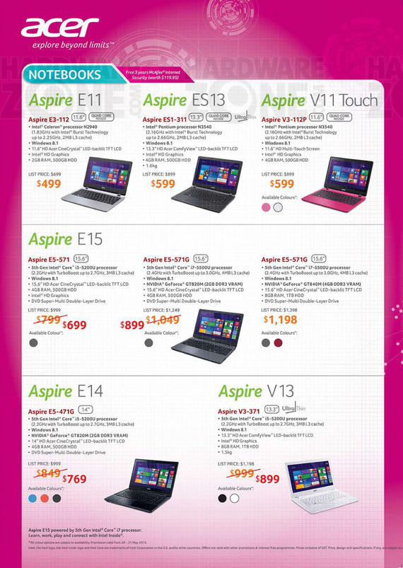 Acer Aspire Notebooks - Page 1