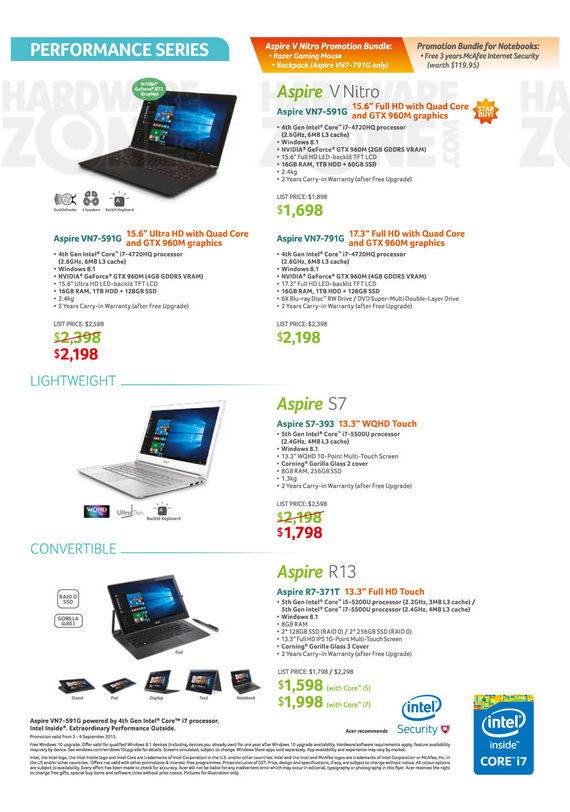 Acer Performance Series Notebooks