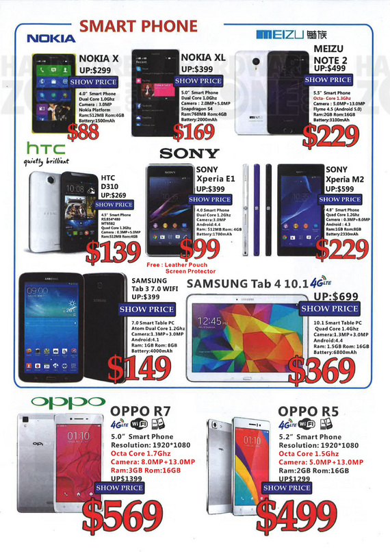Nokia, Meizu, HTC, Sony, Samsung, Oppo Smartphones and Tablet