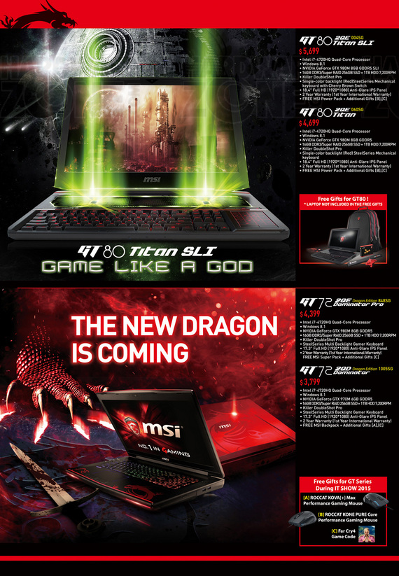 MSI GT Series Gaming Notebooks