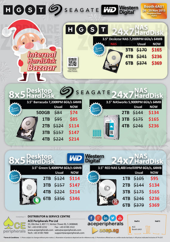 HGST, Seagate, WD NAS HDDs