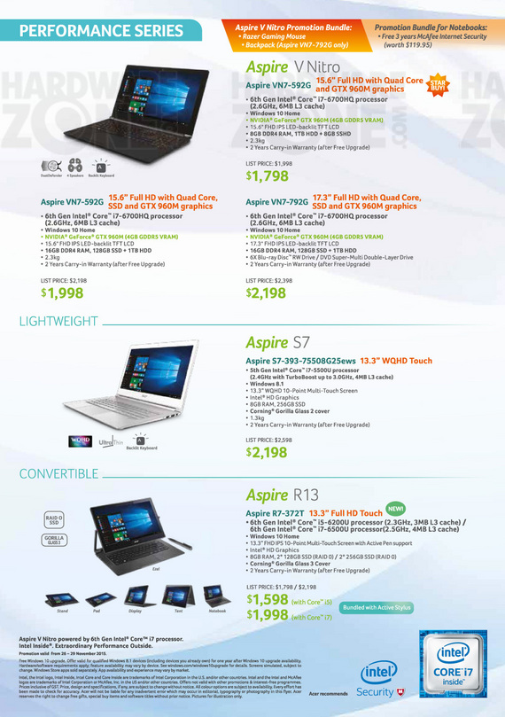 Acer Performance Notebooks