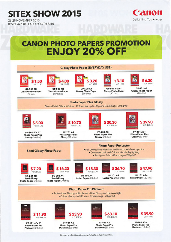 Canon printer paper