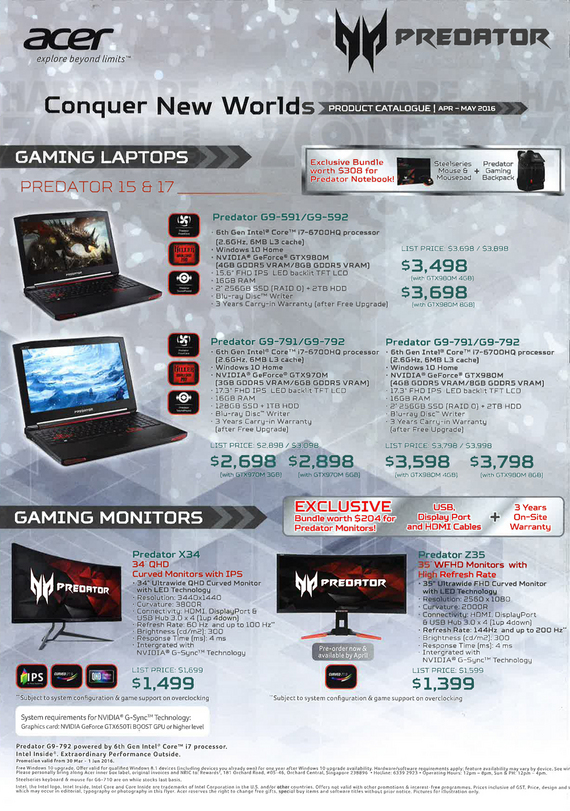 Acer gaming notebooks + monitors