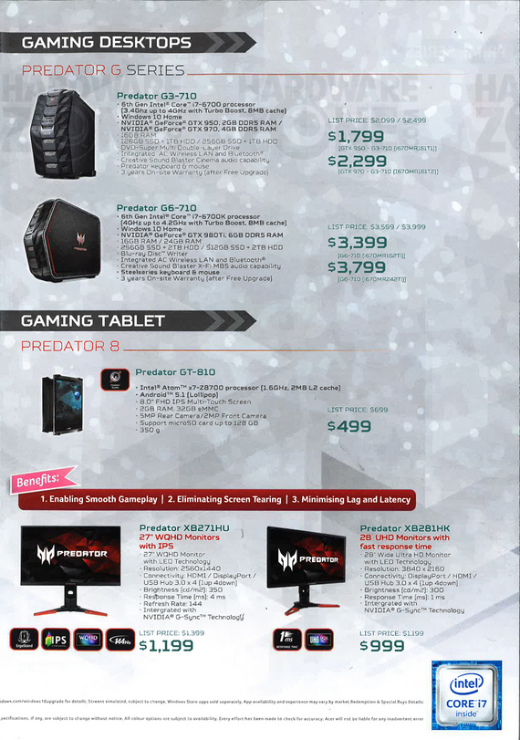 Acer gaming systems + tablet + monitors