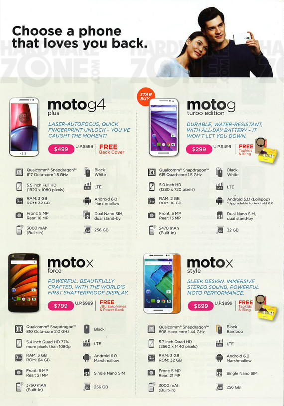 Lenovo Moto G and X phones