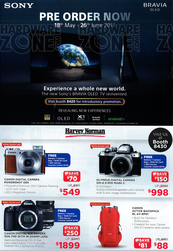Harvey Norman - Sony A1 OLED, Canon, Olympus cameras