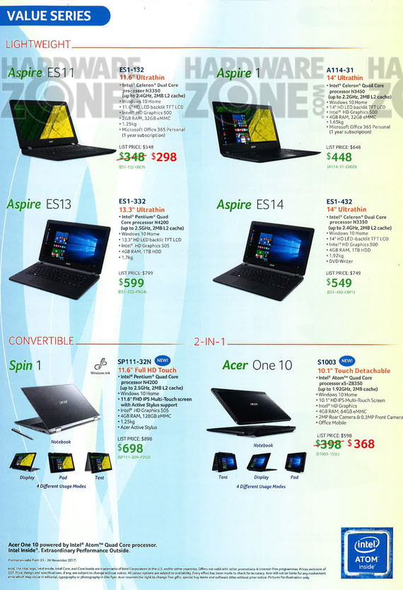 Acer Notebooks - Pg 6