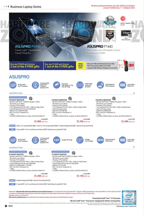 ASUS Notebooks Brochures - IT Show 2019 Singapore