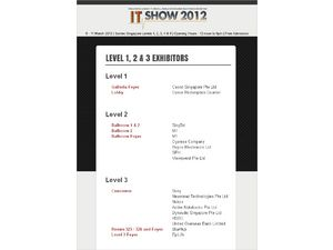 IT Show 2012 Levels 1 - 3 Floor Plan