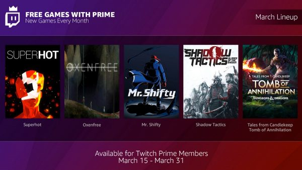 Twitch Prime begins monthly free games program, 5 titles now available