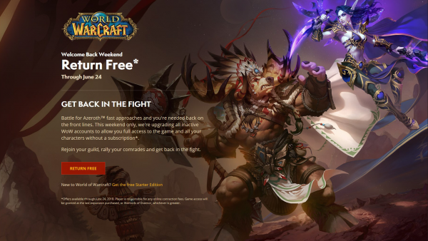 Jump (back) into World of Warcraft for free this weekend