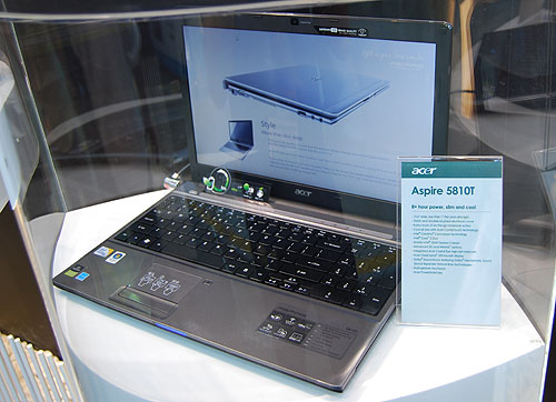 The largest model in the Timeline series is the Aspire 5810T which is 15.6-inch wide but less than an inch thick. It uses a Core 2 Duo with Intel GS45 Express chipset and includes options for 3G and WiMAX. Acer claims that this multimedia notebook can go more than 8 hours on a single charge.