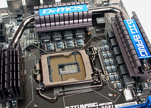 It's no mistake if you feel that the heatpipes seen here are thicker than usual. MSI's SuperPipe feature is basically the use of thicker 8mm heatpipes for better heat conduction. The CPU socket is from LOTES.