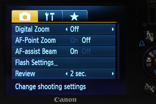 The menu is easy to use and should be familiar to anyone who's ever used a Canon IXUS.