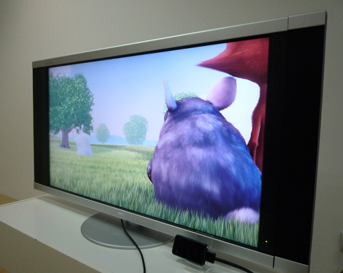 An example of how the Zii EGG, once connected to a full HDTV, displays its HD video at the maximum 1080p resolution. Incidentally, the video shown to us was a 720p clip, but it was upscaled to the 1080p resolution as seen on the TV, by the Zii EGG.