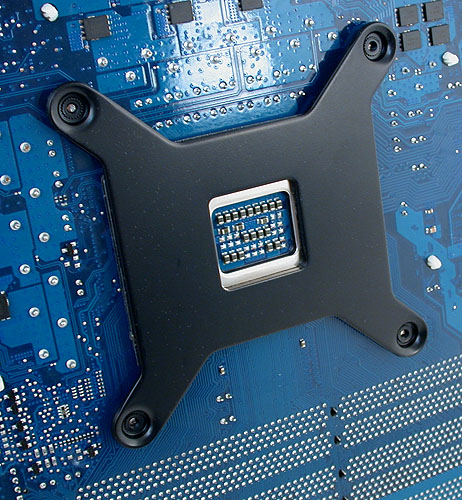 The custom backplate that needs to be attached to the bottom of the motherboard. There are two included, one for LGA1366 and another for LGA775. AMD users have to get theirs from Corsair technical support for a nominal shipping fee.