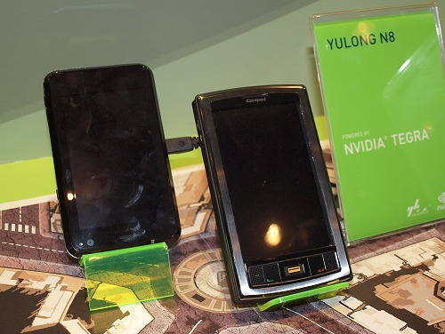 And the NVIDIA Tegra isn't just limited to mini-notebook class of applications. Here is a pair of mobile phones by Inventec Appliances Corp's S2 on the left and the Yulong N8.