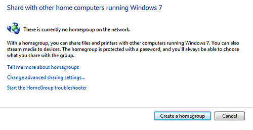 """To set up a Homegroup, just hop on over to your Control Panel. Then click on the Homegroup icon and """"Create A Homegroup""""."""