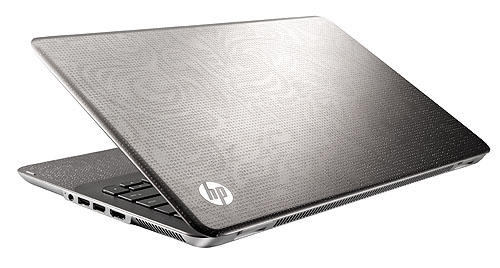 The metallic treatment is extended to the lid on the ENVY 15, which also gets a Core i7 processor inside, along with an ATI Radeon HD 4830 to match.