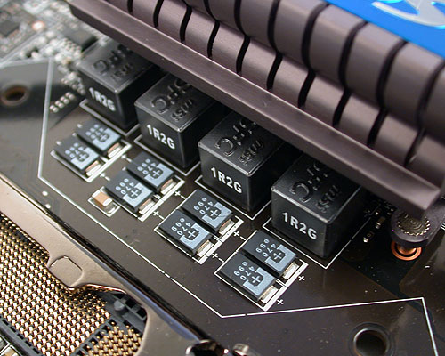 MSI claims that the Trinergy is the first motherboard to use these hi-c cap or highly-conductive polymerized capacitors. We'll admit that while we have seen such capacitors on other boards, it's the first time we're seeing it completely dotting the whole board. Next, the ferrite chokes used here are claimed to be 20% more power efficient than the normal ones while its extremely low impedance helps to keep temperatures low.