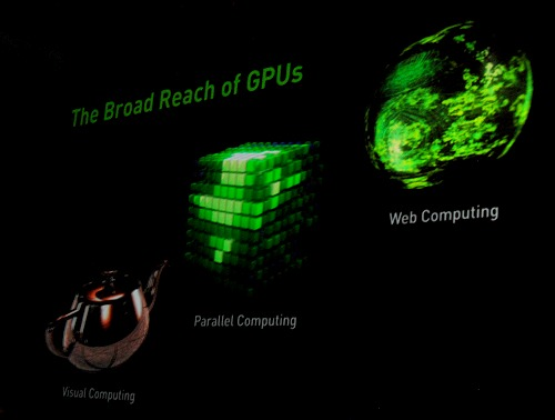 Visual Computing, Parallel Computing and Web Computing - the three key areas as painted by Jen-Hsun on how and where GPUs are making great headway and probably going to be even more pervasive as we move ahead.