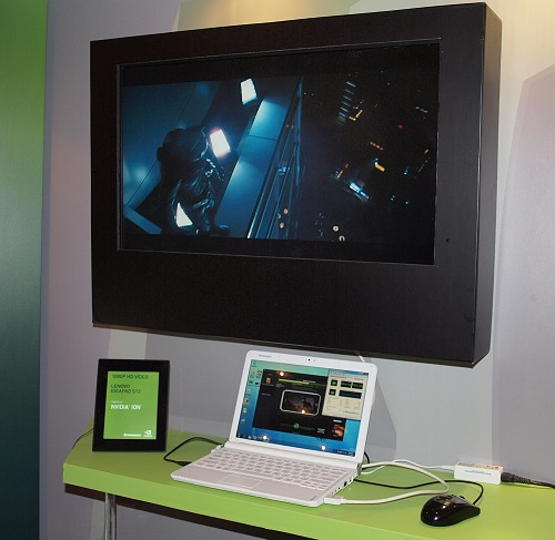 To prove the versatility and power of the NVIDIA Ion platform, NVIDIA got hold of an early unit of the Lenovo IdeaPad S12 and got it running a full 1080p HD clip of the Dark Knight trailer, while it was tasked with a video transcoding process with Badaboom media converter .