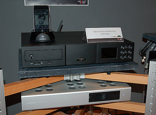 The NaimUniti is looks incredibly understated and even bit fuddy-duddy, but it is an amazing piece of kit. Below it is the Meriden Ensemble, part of the Meridien Sooloos Media system, it acts as a music server from which the NaimUniti can steam from via WiFi.
