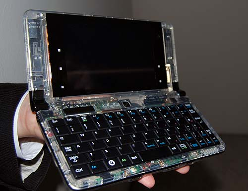 Here's another shot of the LifeBook UH900, but this time, it's a prototype machine that's all transparent. Cool huh?