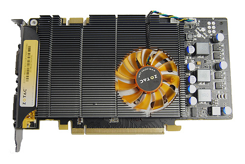 The Zotac GeForce 9800 GT Eco is a single slot card, and its cooler almost covers the entire card, with the fan slightly off-center.