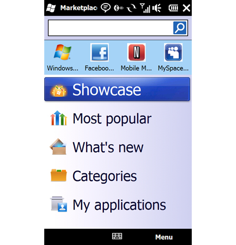 The main menu of the Windows Marketplace for Mobile, presenting some of the popular, showcased and categories of apps to download.