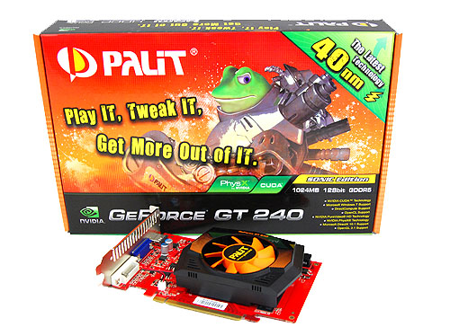 The Palit GeForce GT 240 Sonic Edition has a more fanciful and eye-catching package with Frobo fronting the package proudly proclaiming the use of a 40nm manufacturing technology.
