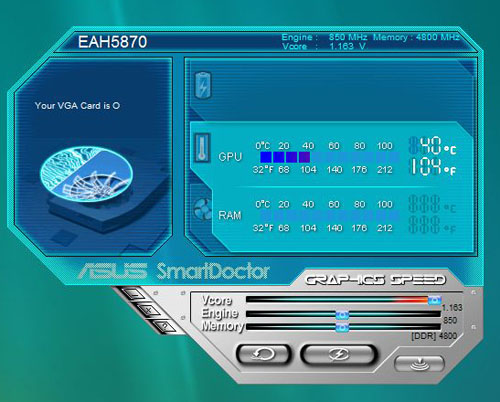 ASUS' Smart Doctor tweaking utility is a step up from ATI's own Overdrive overclocking utility thanks to its ability to allow users to control the GPU's Vcore values, allowing for greater overclocking potential.