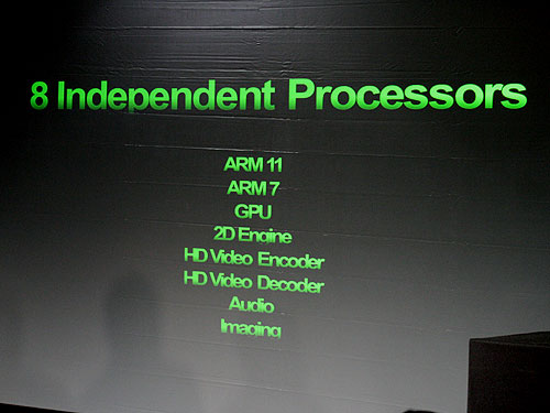 Inside the Tegra are eight independent processors, each handling a specific task.