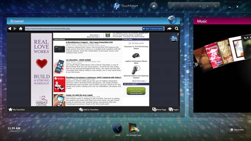 You can also surf the web from inside the TouchSmart suite, though note that it's using IE8 to render the sites. Still, it works pretty fine with your fingers, though you may want to use the keyboard for typing URLs.