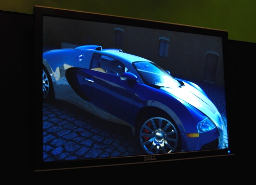 Powered by an NVIDIA Quadro Plex system or by any high-end FX class Quadro card, the OptiX ray tracing engine allowed us manipulate the object and the new ray-traced scene is rendered in seconds. It is the world's first example of interactive ray-tracing accomplished real-time on a GPU.