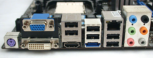 A fairly typical rear I/O panel on the MSI, with the HDMI, VGA and DVI trinity of outputs complemented by an eSATA port and the usual USB, LAN and audio connectors.