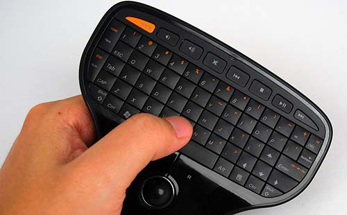 It fits comfortably in your hands, but you may need to adjust your hands for easier typing.