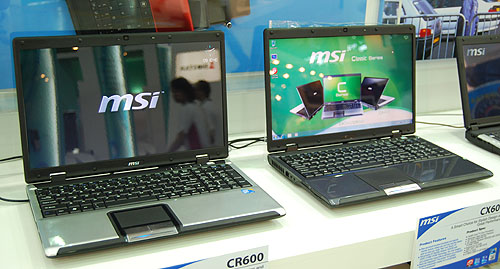 These are the 16-inch CX600 and CR600. Both have similar Core 2 Duo processors and differ in the chipset used. The CX600 uses a SIS672DX chipset with ATI Mobility Radeon HD4330 graphics while the CR600 went with NVIDIA and its GeForce 8200M G. They are otherwise similar in terms of weight and dimensions.