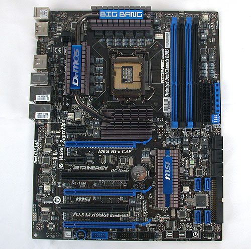 Keeping with a heavy use of black and dark blues, this new Big Bang Trinergy is recognizably a MSI motherboard of recent pedigree.